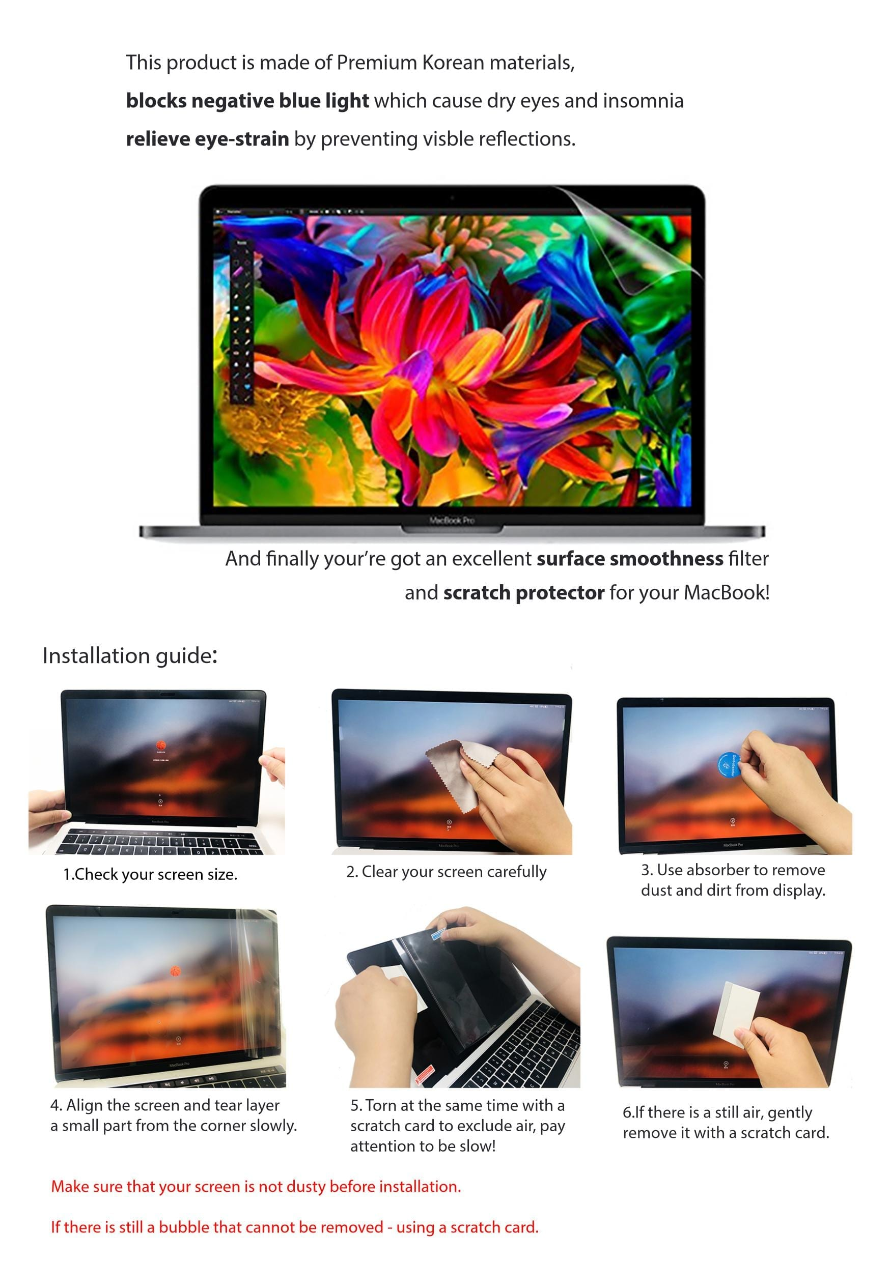 2-Pack Homy Anti Blue Light Screen Protector Kit Eye Protection Contain: 1x Matte and 1x Glare Blocking Filter 7 5//8 x 13 9//16 inch. for 15.6 inch Widescreen Laptop Free Web Camera Sliding Cover